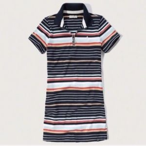 A&F SHIRT DRESS striped 3/4 Zip Polo mini